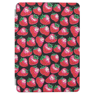 Red strawberry on  black background iPad air cover