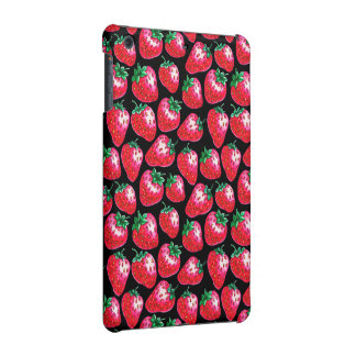Red strawberry on  black background iPad mini case