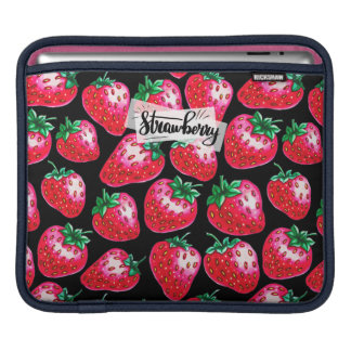 Red Strawberry on black background iPad Sleeve