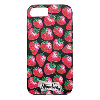 Red strawberry on  black background iPhone 8/7 case