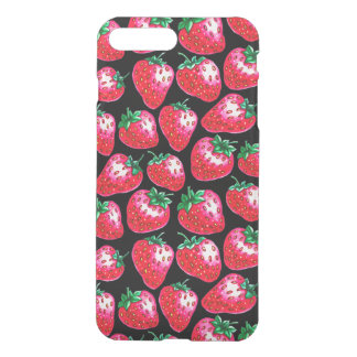 Red strawberry on  black background iPhone 8 plus/7 plus case