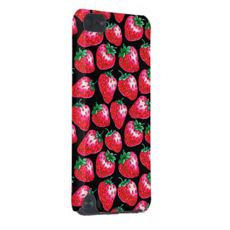 Red strawberry on  black background iPod touch (5th generation) cases