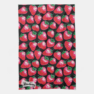 Red strawberry on  black background kitchen towel