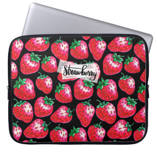 Red Strawberry on black background Laptop Sleeve