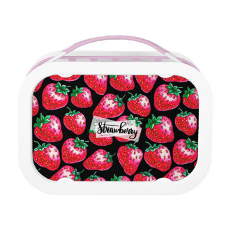 Red Strawberry on black background Lunch Box