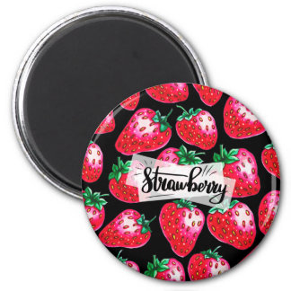 Red Strawberry on black background Magnet
