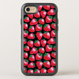 Red strawberry on  black background OtterBox symmetry iPhone 8/7 case