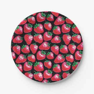 Red strawberry on  black background paper plate