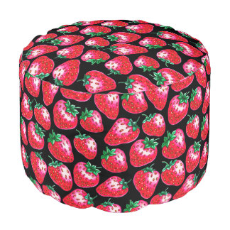 Red Strawberry on black background Pouf