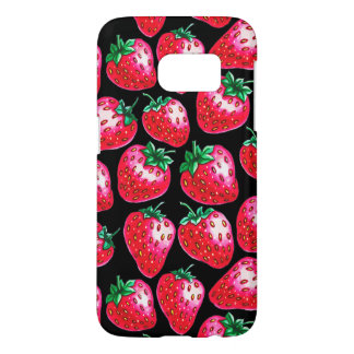 Red Strawberry on black background Samsung Galaxy S7 Case