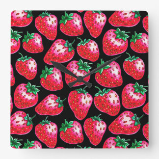 Red Strawberry on black background Square Wall Clock