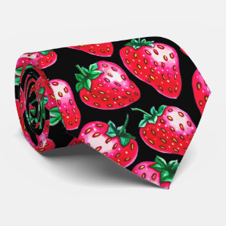 Red Strawberry on black background Tie