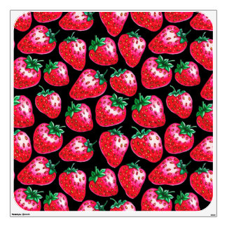 Red Strawberry on black background Wall Sticker