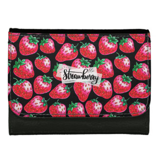 Red Strawberry on black background Wallets