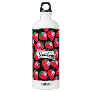 Red Strawberry on black background Water Bottle