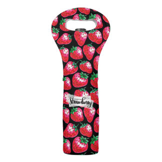 Red Strawberry on black background Wine Bag