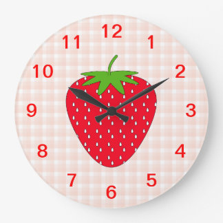 Red Strawberry on Gingham Check. Large Clock