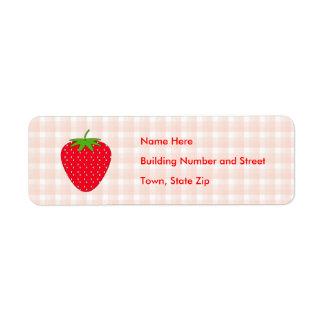 Red Strawberry on Gingham Check. Return Address Label