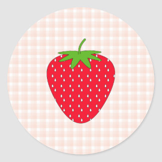 Red Strawberry on Gingham Check. Round Sticker