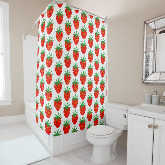 Red strawberry pattern custom shower curtain