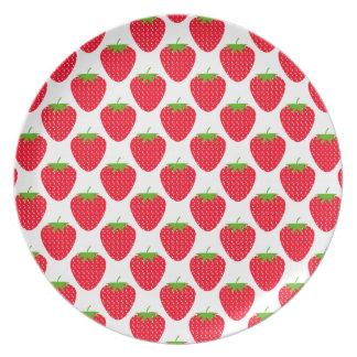 Red Strawberry Pattern Dinner Plate