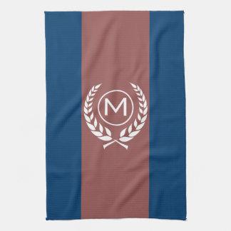 Red Stripe Blue Monogram Towel