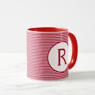 Red Stripe Monogram Mug