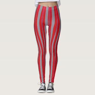 Red Stripe Pattern Yoga Gym Exercise Leggings