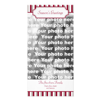 Red stripe vertical Christmas holiday greeting Photo Cards