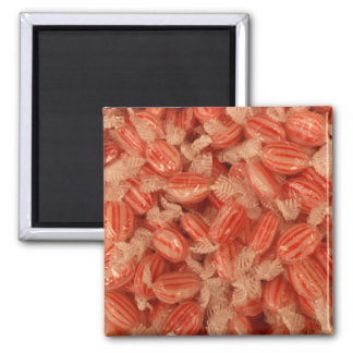 Red Striped Candy Square Magnet