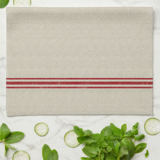 Red Striped Grain Sack Inspired Kitchen Towel