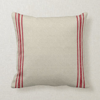 Red Striped Grain Sack Inspired Throw Pillow