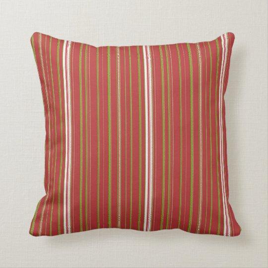 Red Striped Green, White Throw Cushion