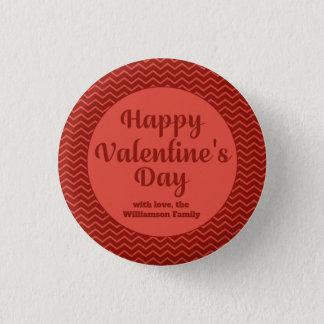 Red Striped Happy Valentine's Party Favor 1 Inch Round Button