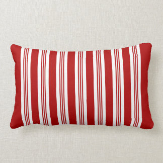 Red Striped Nautical Lumbar Pillow