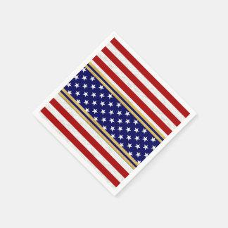 Red Striped Stars USA Paper Napkin