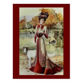 Red Striped Walking Dress Postcard