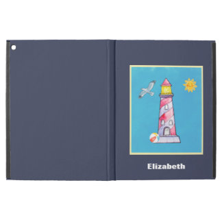 "Red Striped Watercolor Lighthouse Custom iPad Pro 12.9"" Case"