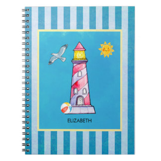 Red Striped Watercolor Lighthouse Custom Notebook