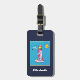Red Striped Watercolor Lighthouse Luggage Tag