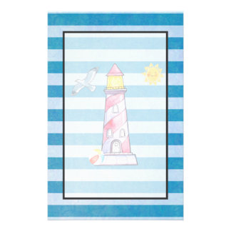 Red Striped Watercolor Lighthouse on Blue Stripes Stationery