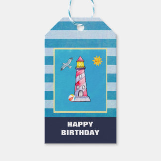 Red Striped Watercolor Lighthouse Pack Of Gift Tags
