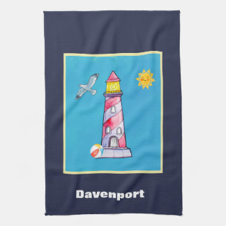 Red Striped Watercolor Lighthouse Personalized Kitchen Towel