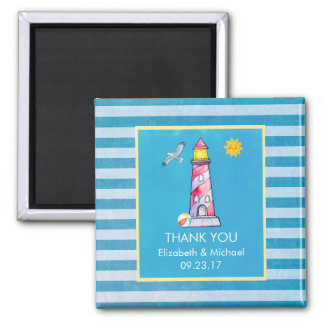 Red Striped Watercolor Lighthouse Thank You Custom Magnet