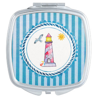 Red Striped Watercolor Lighthouse Travel Mirror