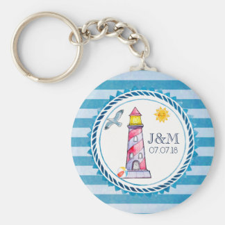 Red Striped Watercolor Lighthouse Wedding Keychain