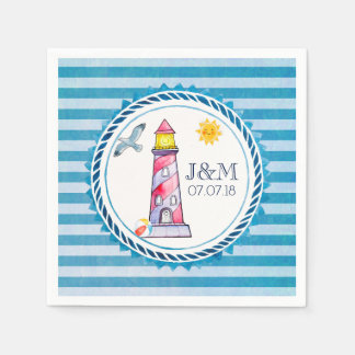 Red Striped Watercolor Lighthouse Wedding Paper Napkin