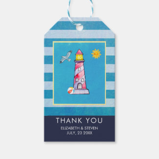 Red Striped Watercolor Lighthouse Wedding Thanks Gift Tags