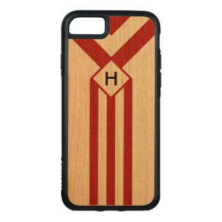 Red Stripes and Chevrons with Monogram on Wood Carved iPhone 8/7 Case