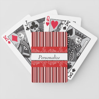Red Stripes and Curls Bicycle Playing Cards